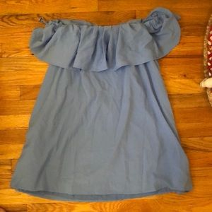 French Connection Off The Shoulder Blue Dress